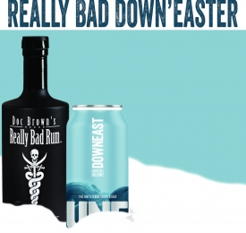 Really Bad Rum Dark Rum Bottle With Downeast Winter Can